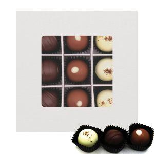 Pralinen 9er-Mix, Glitzerweiß | Pralinenbox | 108g