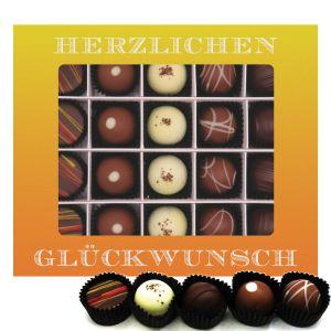 20er Pralinen-Mix handgemacht, mit/ohne Alkohol (240g) - Herzlichen Glückwunsch (Pralinenbox)