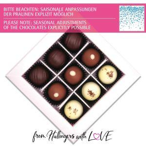 9er Pralinen-Mix handgemacht, mit/ohne Alkohol (108g) - Blue Hearts (Pralinenbox)