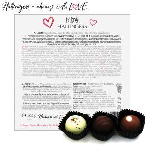 2x 9er Pralinen-Mix handgemacht, mit/ohne Alkohol (216g) - Pink & Blue Hearts (Pralinenbox)