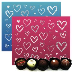 2x 20er Pralinen-Mix handgemacht, mit/ohne Alkohol (480g) - Pink & Blue Hearts (Pralinenbox)