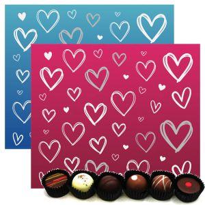 2x 30er Pralinen-Mix handgemacht, mit/ohne Alkohol (720g) - Pink & Blue Hearts (Pralinenbox)