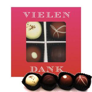 Pralinen 4er-Mix, Vielen Dank Pink, z.B. für Muttertag, Vatertag, Valentinstag | Pralinenbox | 48g