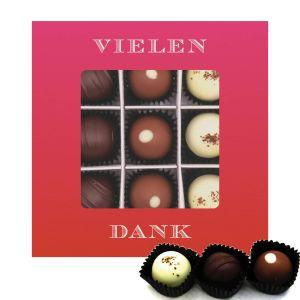 Pralinen 9er-Mix, Vielen Dank Pink, z.B. für Muttertag, Vatertag, Valentinstag | Pralinenbox | 108g