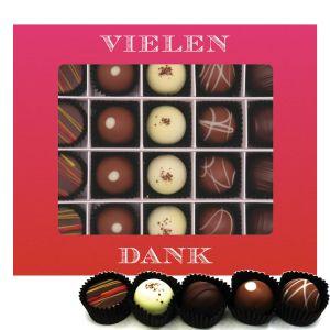 Pralinen 20er-Mix, Vielen Dank Pink, z.B. für Muttertag, Vatertag, Valentinstag | Pralinenbox | 240g