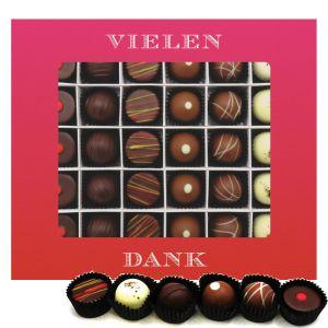 Pralinen 30er-Mix, Vielen Dank Pink, z.B. für Muttertag, Vatertag, Valentinstag | Pralinenbox | 360g