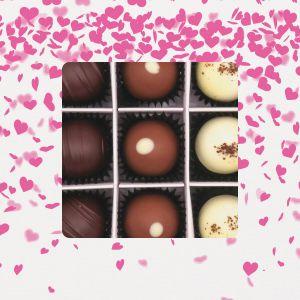 9er Pralinen-Mix handgemacht, mit/ohne Alkohol (108g) - Pinke Herzen (Pralinenbox)
