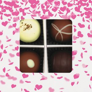Pralinen 4er-Mix, Pinke Herzen, z.B. für Muttertag, Vatertag, Valentinstag | Pralinenbox | 48g