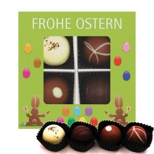 4er Pralinen-Mix handgemacht, mit/ohne Alkohol (48g) - Frohe Ostern grün (Pralinenbox)