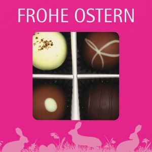 Pralinen Ostern 4er, Frohe Ostern pink | Pralinenbox | 48g