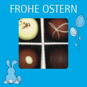Pralinen Ostern 4er, Frohe Ostern blau | Pralinenbox | 48g
