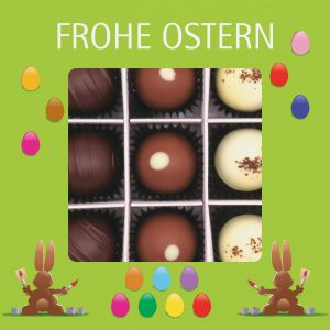 Pralinen Ostern 9er, Frohe Ostern grün | Pralinenbox | 108g