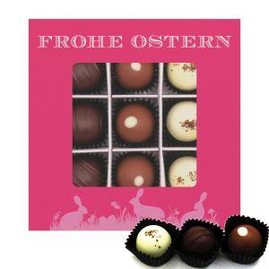 9er Pralinen-Mix handgemacht, mit/ohne Alkohol (108g) - Frohe Ostern pink (Pralinenbox)
