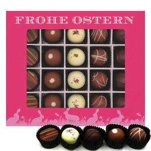 20er Pralinen-Mix handgemacht, mit/ohne Alkohol (240g) - Frohe Ostern pink (Pralinenbox)