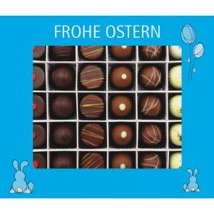 30er Pralinen-Mix handgemacht, mit/ohne Alkohol (360g) - Frohe Ostern blau (Pralinenbox)