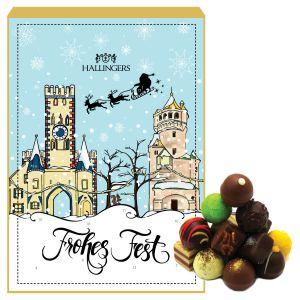 24 Pralinen-Adventskalender, mit/ohne Alkohol (300g) - Nostalgie (Advents-Karton)