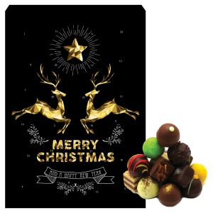 Adventskalender Pralinenkalender Goldene Elche | Advents-Karton | 300g