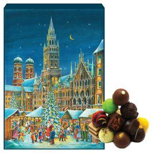 24 Pralinen-Adventskalender, mit/ohne Alkohol (300g) - München (Advents-Karton)