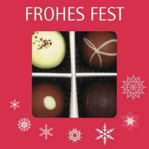 Pralinen Weihnachten 4er, Frohes Fest rot | Pralinenbox | 48g