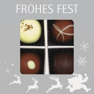 4er Pralinen-Mix handgemacht, mit/ohne Alkohol (48g) - Frohes Fest Silber (Pralinenbox)