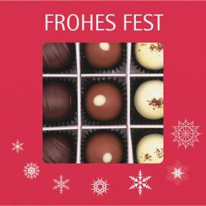 Pralinen Weihnachten 9er, Frohes Fest rot | Pralinenbox | 108g