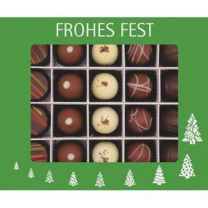 Pralinen Weihnachten 20er, Frohes Fest grün | Pralinenbox | 240g