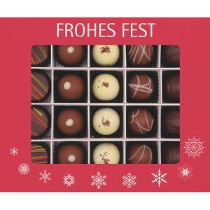Pralinen Weihnachten 20er, Frohes Fest rot | Pralinenbox | 240g