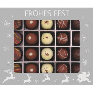 20er Pralinen-Mix handgemacht, mit/ohne Alkohol (240g) - Frohes Fest Silber (Pralinenbox)