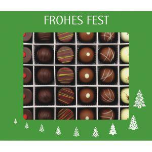 30er Pralinen-Mix handgemacht, mit/ohne Alkohol (360g) - Frohes Fest Grün (Pralinenbox)