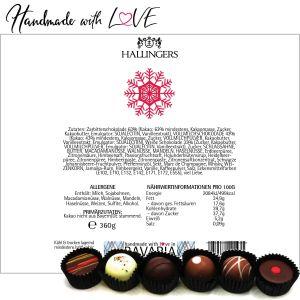 30er Pralinen-Mix handgemacht, mit/ohne Alkohol (360g) - Frohes Fest Rot (Pralinenbox)