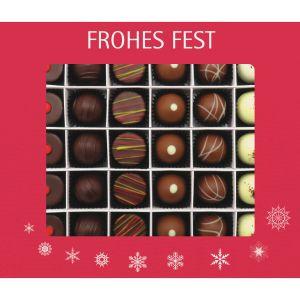 Pralinen Weihnachten 30er, Frohes Fest rot | Pralinenbox | 360g