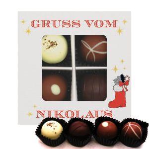 4er Pralinen-Mix handgemacht, mit/ohne Alkohol (48g) - Gruß vom Nikolaus (Pralinenbox)