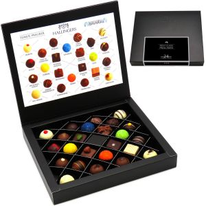 24 Pralinen First Class Black, z.B. für Muttertag, Vatertag, Valentinstag | FirstClass-Box | 300g