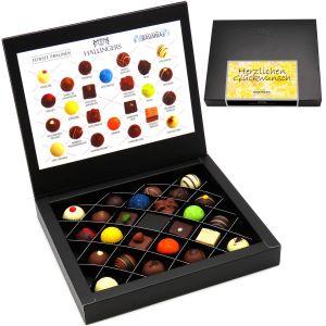 Pralinen-Geschenk Herzlichen Glückwunsch Yellow - 24 Pralinen feinster Schokolade, z.B. für Muttertag, Vatertag, Valentinstag, Geburtstag, Danke | FirstClass-Box | 300g
