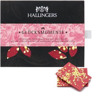 Weiße Schokolade mit Cassis hand-geschöpft (90g) - Glücksmomente (Tafel-Karton)