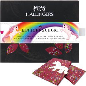 Weiße Schokolade mit Cassis hand-geschöpft (90g) - Einhorn-Schoki (Tafel-Karton)