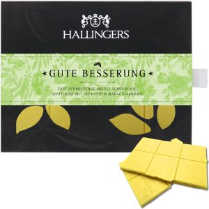 Weiße Schokolade mit Maracuja hand-geschöpft (90g) - Gute Besserung (Tafel-Karton)