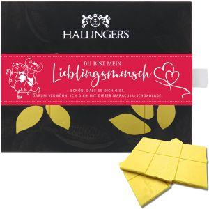 Weiße Schokolade mit Maracuja hand-geschöpft (90g) - Lieblingsmensch (Tafel-Karton)