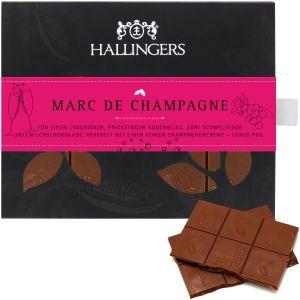 Vollmilch-Schokolade mit Marc de Champagne hand-geschöpft (90g) - Marc de Champagne (Tafel-Karton)