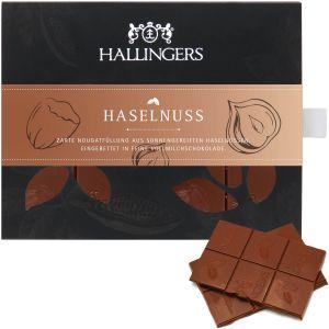 Vollmilch-Schokolade mit Nuss-Nougat hand-geschöpft (90g) - Haselnuss (Tafel-Karton)