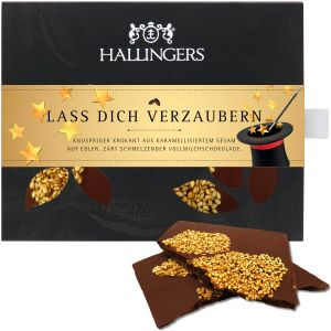 Vollmilch-Schokolade mit Krokant hand-geschöpft (90g) - Lass Dich verzaubern (Tafel-Karton)