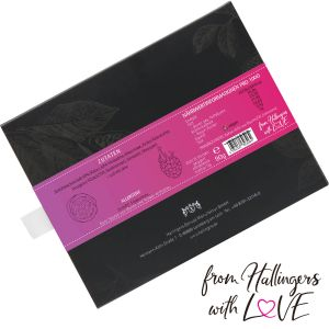 Zartbitter-Schokolade mit Himbeere & Maracuja hand-geschöpft (90g) - Himbeer-Passionsfrucht (Tafel-Karton)