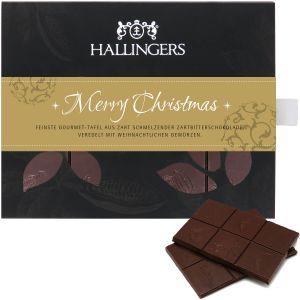 Zartbitter-Schokolade mit Gewürzen hand-geschöpft (90g) - Merry Christmas (Tafel-Karton)