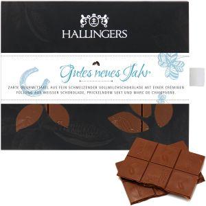 Vollmilch-Schokolade mit Marc de Champagne hand-geschöpft (90g) - Gutes neues Jahr (Tafel-Karton)