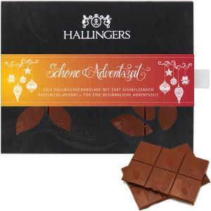 Vollmilch-Schokolade mit Haselnuss-Nougat hand-geschöpft (90g) - Schöne Adventszeit (Tafel-Karton)