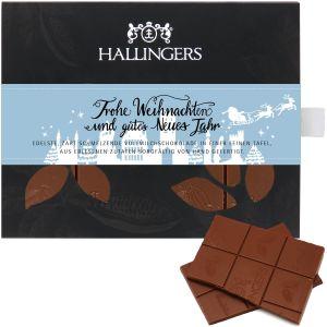 Vollmilch-Schokolade, zart schmelzend hand-geschöpft (90g) - Frohe Weihnachten und ein gutes Neues Jahr (Tafel-Karton)