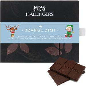 Zartbitter-Schokolade mit Gewürzen hand-geschöpft (90g) - Orange Zimt (Tafel-Karton)