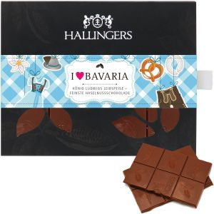 Vollmilch-Schokolade mit Nuss-Nougat hand-geschöpft (90g) - I love Bavaria (Tafel-Karton)
