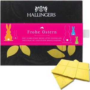 Weiße Schokolade mit Maracuja hand-geschöpft (90g) - Frohe Ostern (Tafel-Karton)