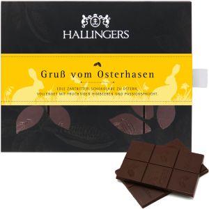 Zartbitter-Schokolade mit Himbeere & Maracuja hand-geschöpft (90g) - Gruß vom Osterhasen (Tafel-Karton)